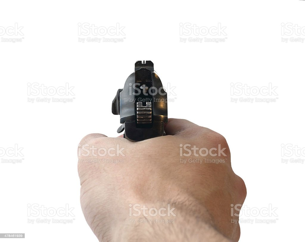 Hand with aiming pistol stock photo