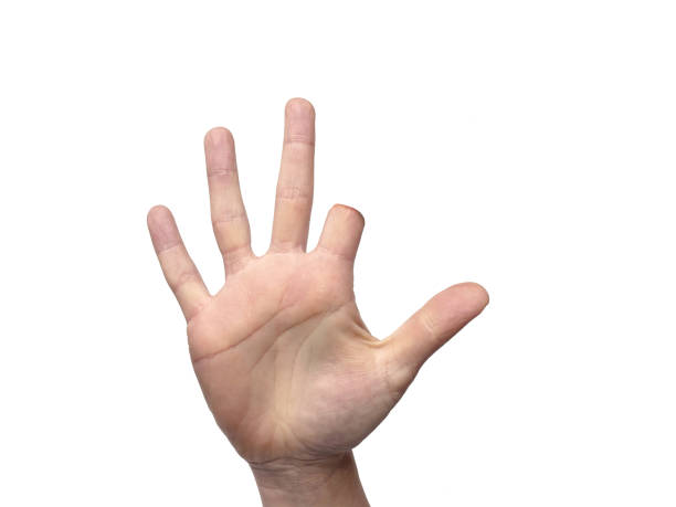 Hand with amputated index finger with room for copy stock photo