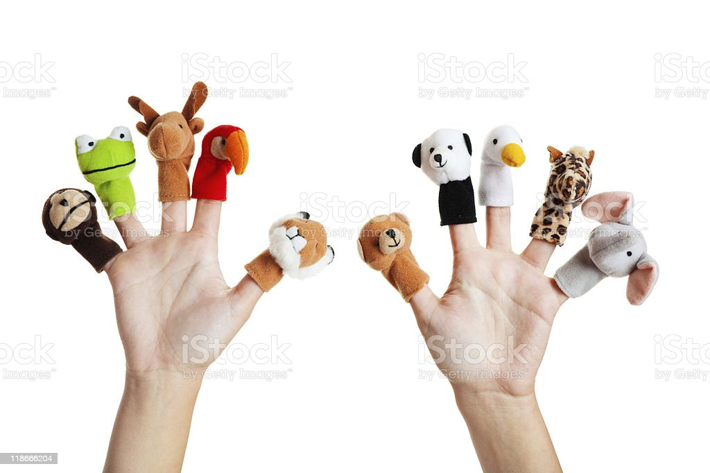 Hand with animal puppets stock photo