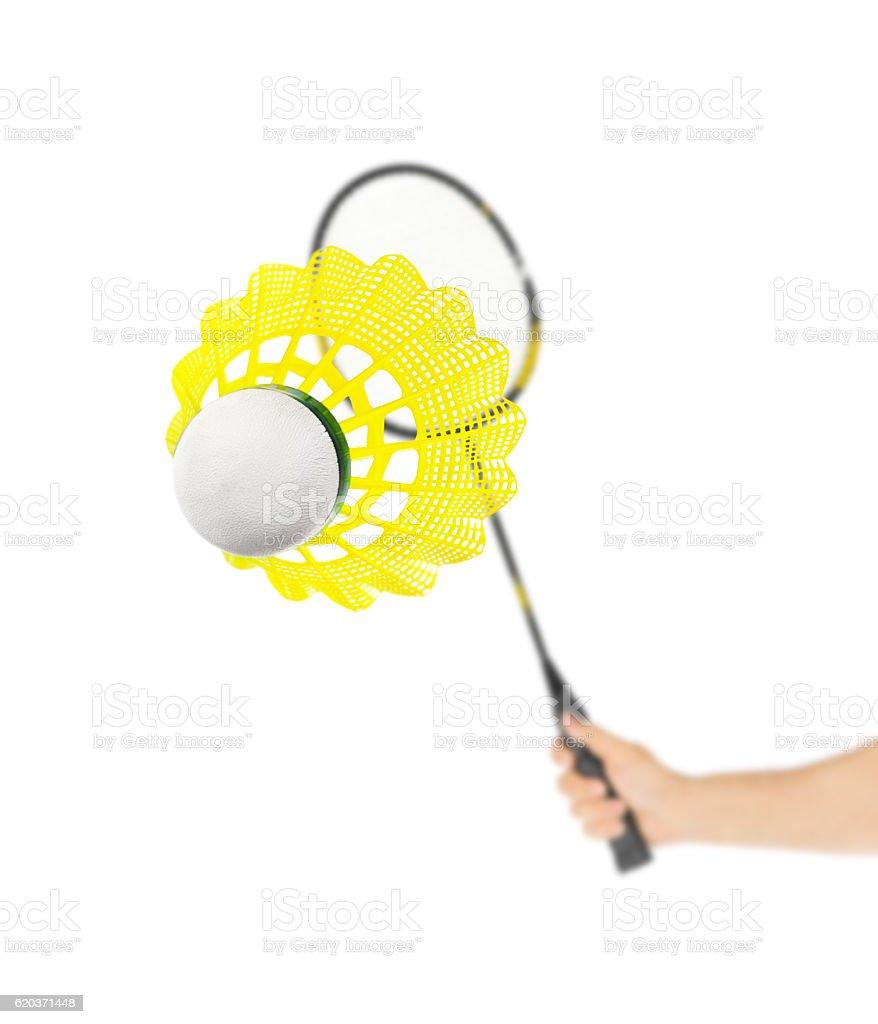 Ręka z Rakietka do badmintona i Lotka zbiór zdjęć royalty-free