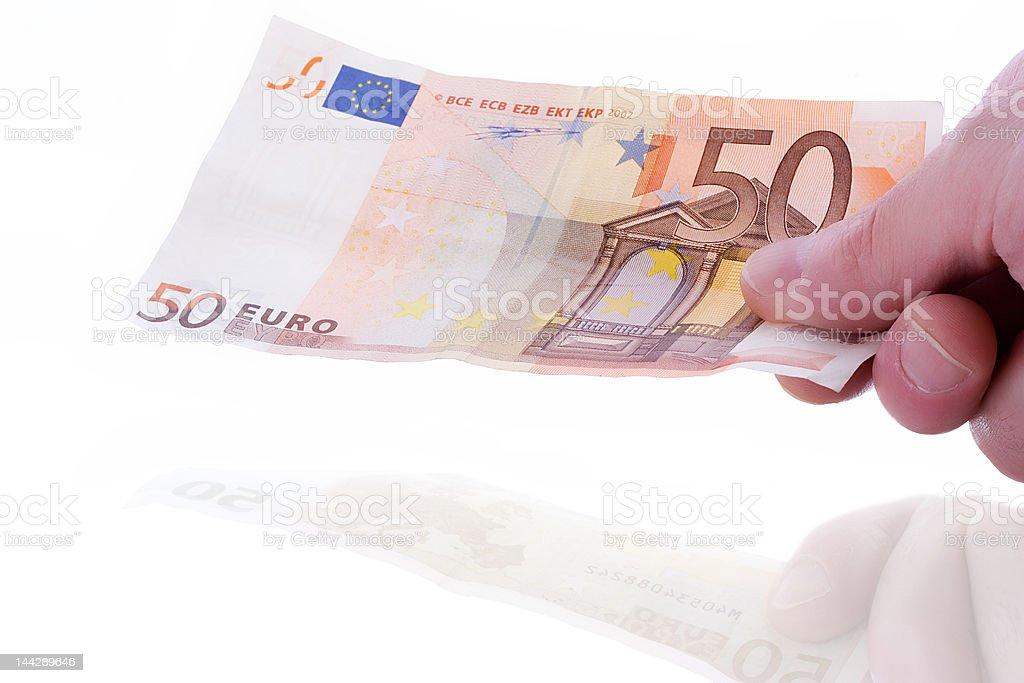 Mão com banco Nota - fotografia de stock