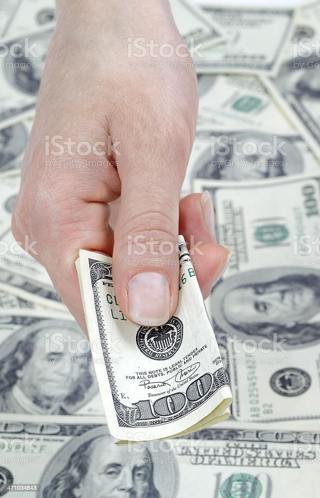 Hand with banknote royalty-free stock photo