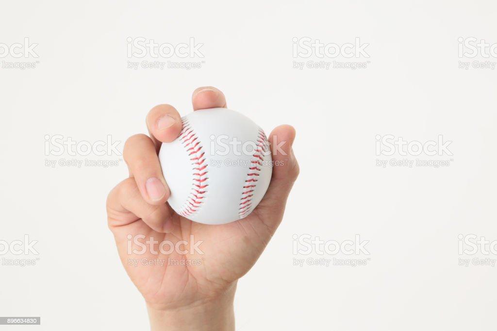Hand with baseball ball stock photo