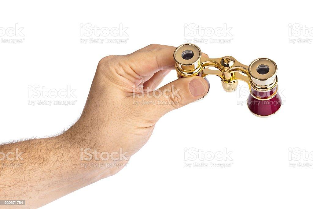 Mão com Binóculos foto de stock royalty-free