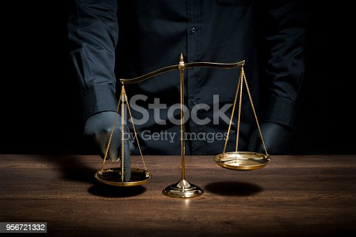 824305956istockphoto Hand with black glove pushing on scale 956721332