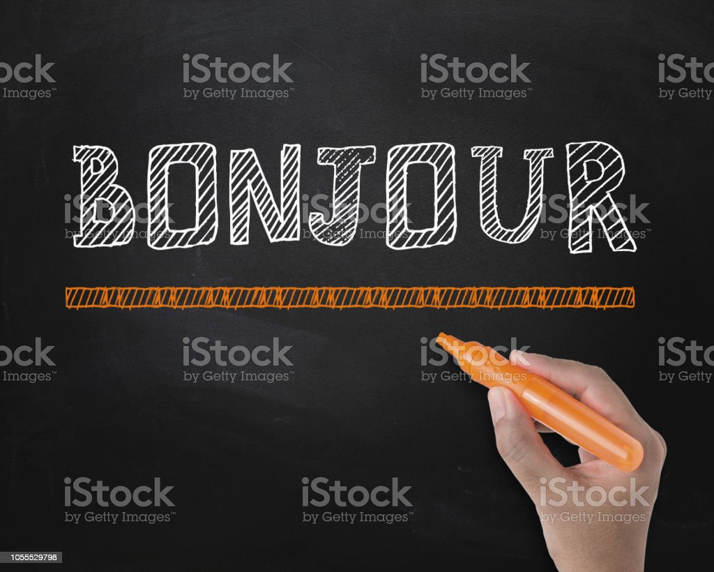 BONJOUR , hand with blackboard concept stock photo