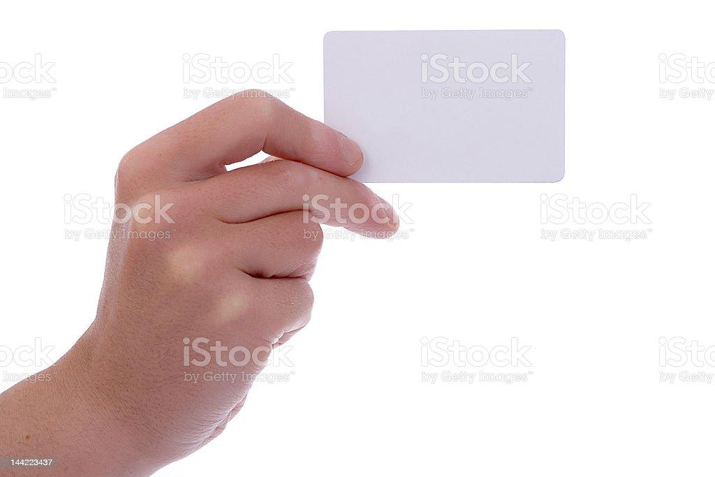 Mão cartão de visita em branco - fotografia de stock