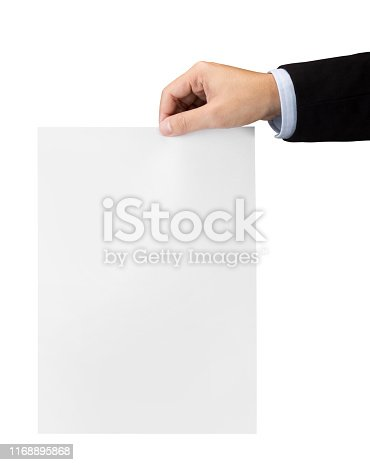 Hand with blank sheet of paper isolated on white with clipping path
