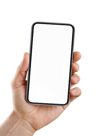 istock Hand with blank smart phone isolated on white 1154328245