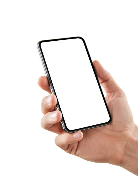 Hand with blank smart phone isolated on white Male hand holding blank smart phone isolated on white background with clipping path for the screen hand stock pictures, royalty-free photos & images
