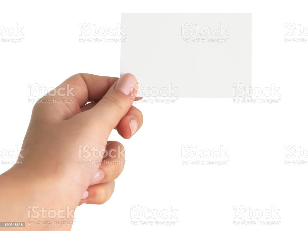 Hand with business card stock photo
