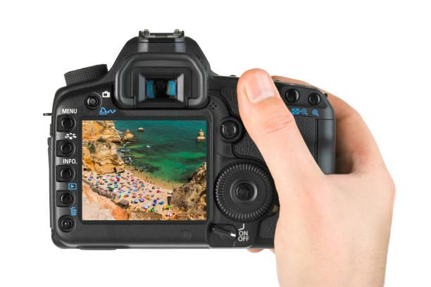 Hand mit Kamera und Strand in Lagos - Algarve Portugal - Portugal (mein Foto) – Foto