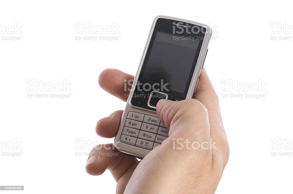 Hand with cell phone royalty-free stock photo