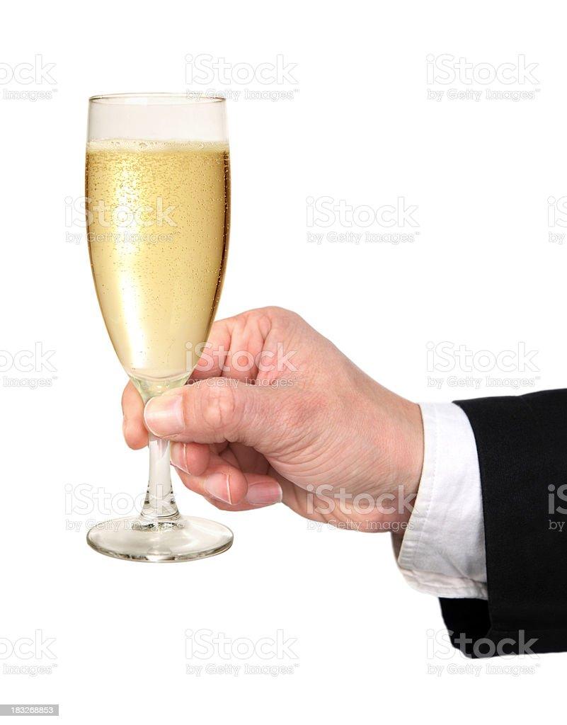 Hand mit Glas Champagner Lizenzfreies stock-foto