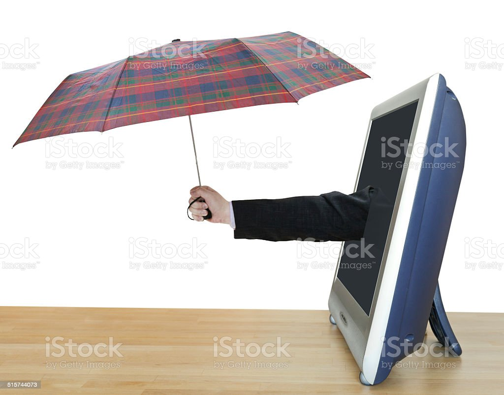 hand with checkered umbrella leans out TV screen stock photo