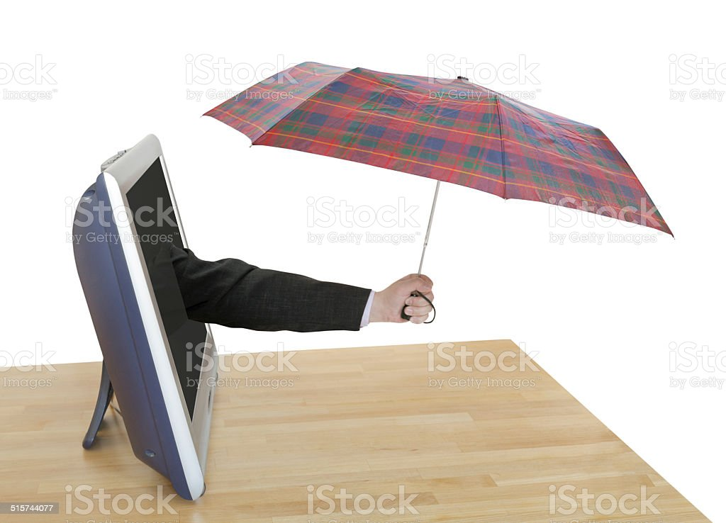 hand with checkered umbrella pops out TV screen stock photo