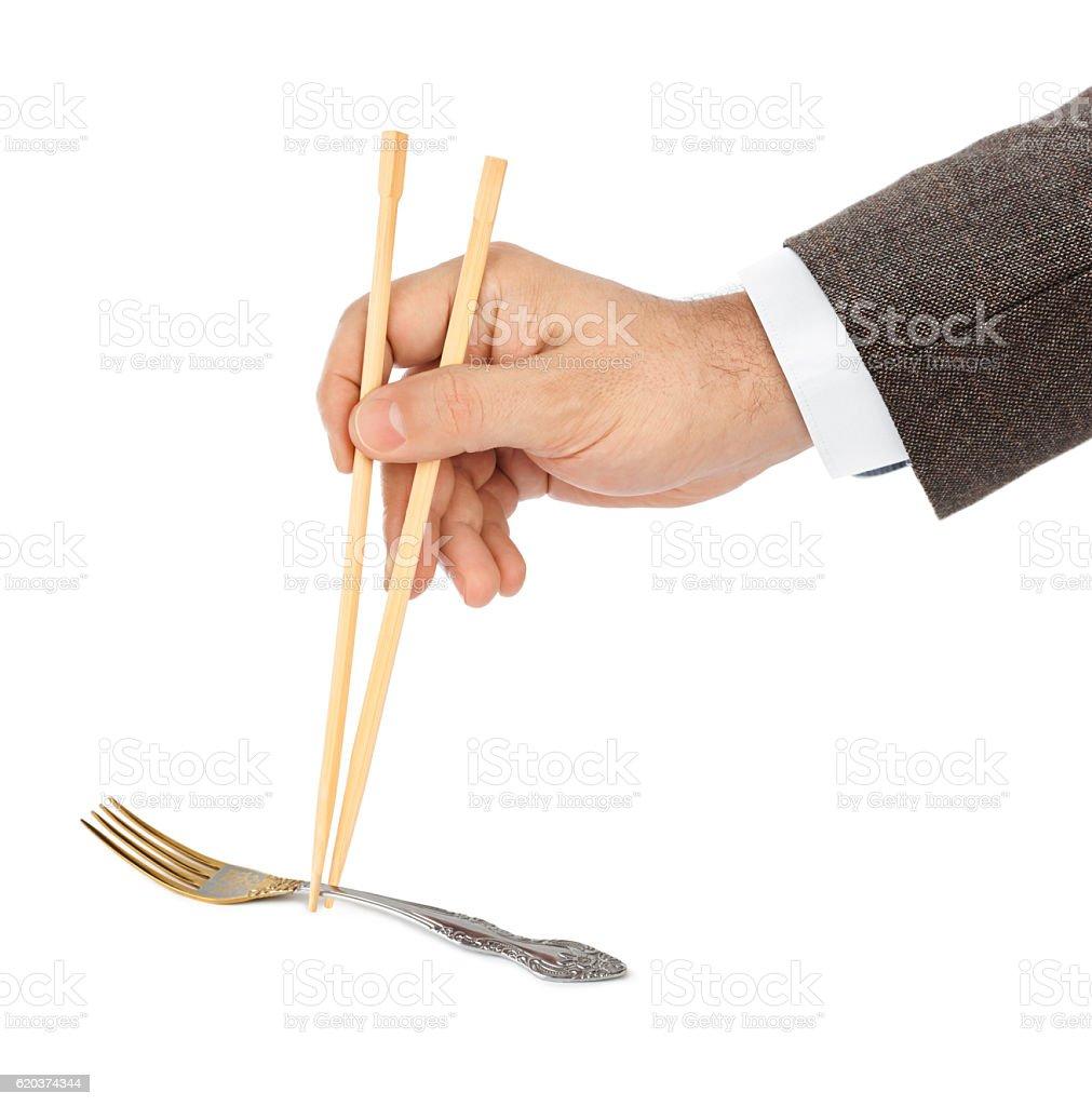 Ręka z pałeczki i Widelec zbiór zdjęć royalty-free
