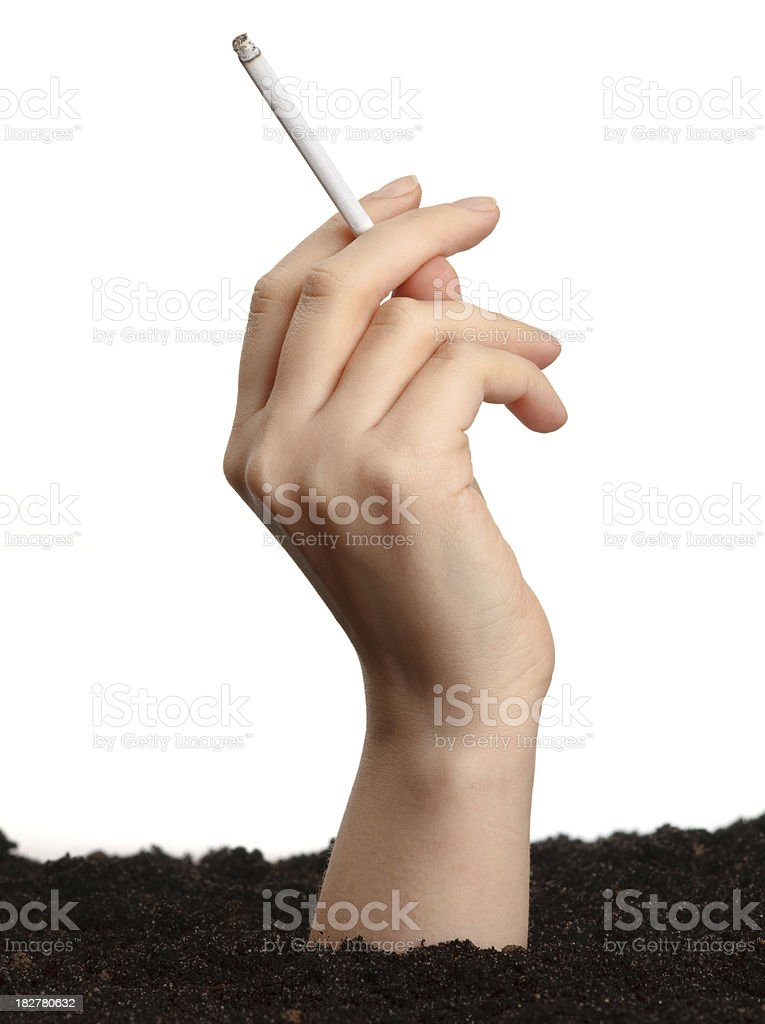 Hand with cigarette stock photo
