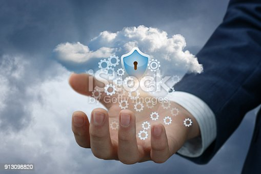 istock Hand with cloud data and the protection shield. 913098820