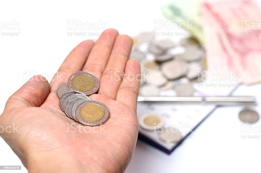hand with coin royalty-free stock photo