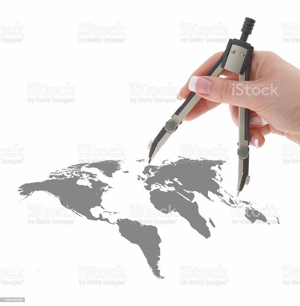 hand with compasses on world map royalty-free stock photo