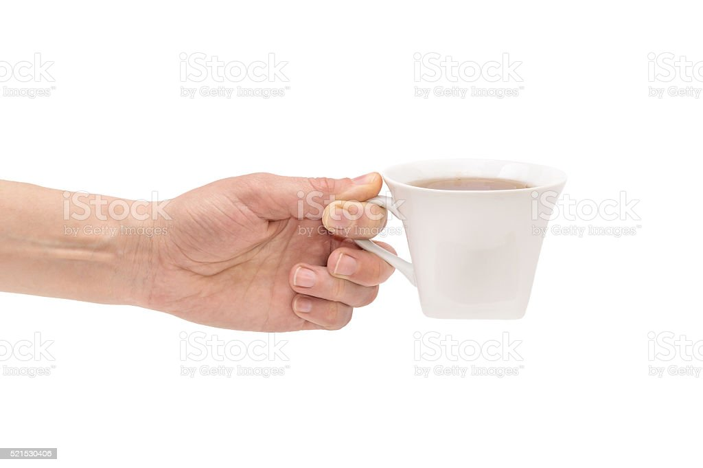 Hand with cup of tea isolated on white stock photo