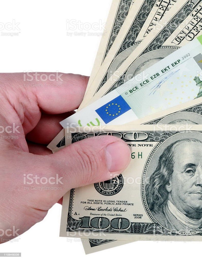 hand with dollar and euro on white royalty-free stock photo