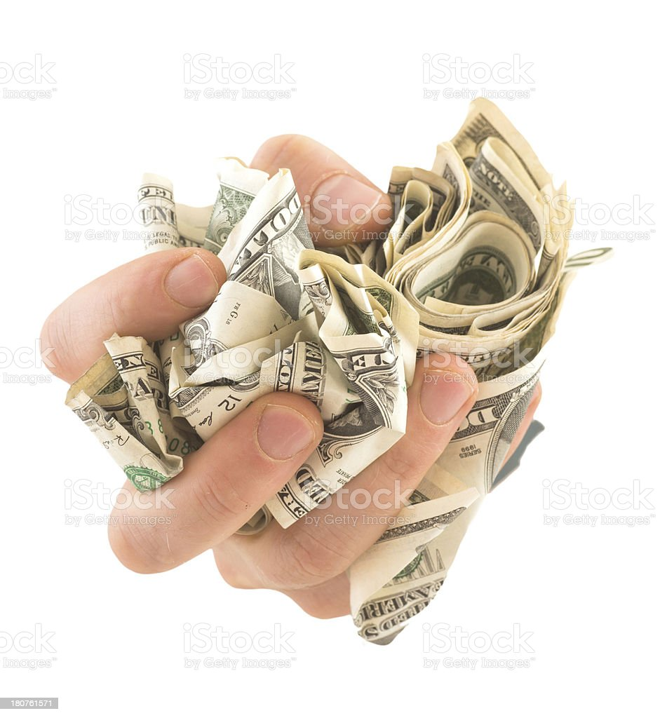 hand with dollar money on white background stock photo