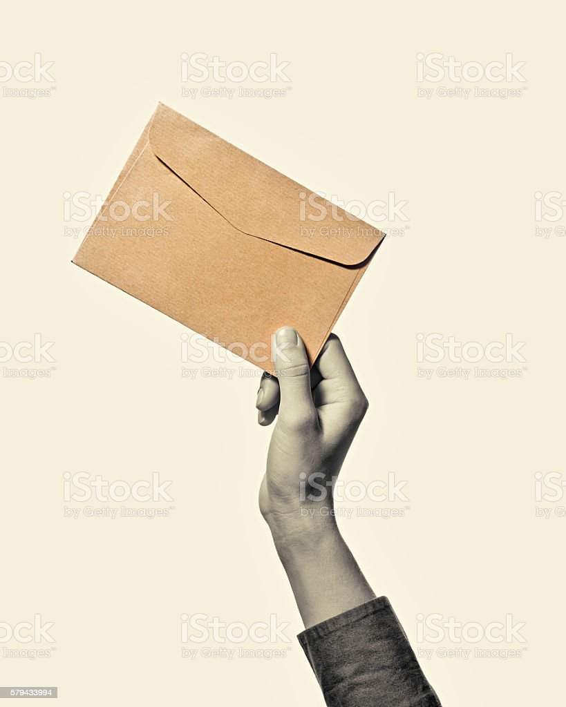 Hand with envelope b/w stock photo