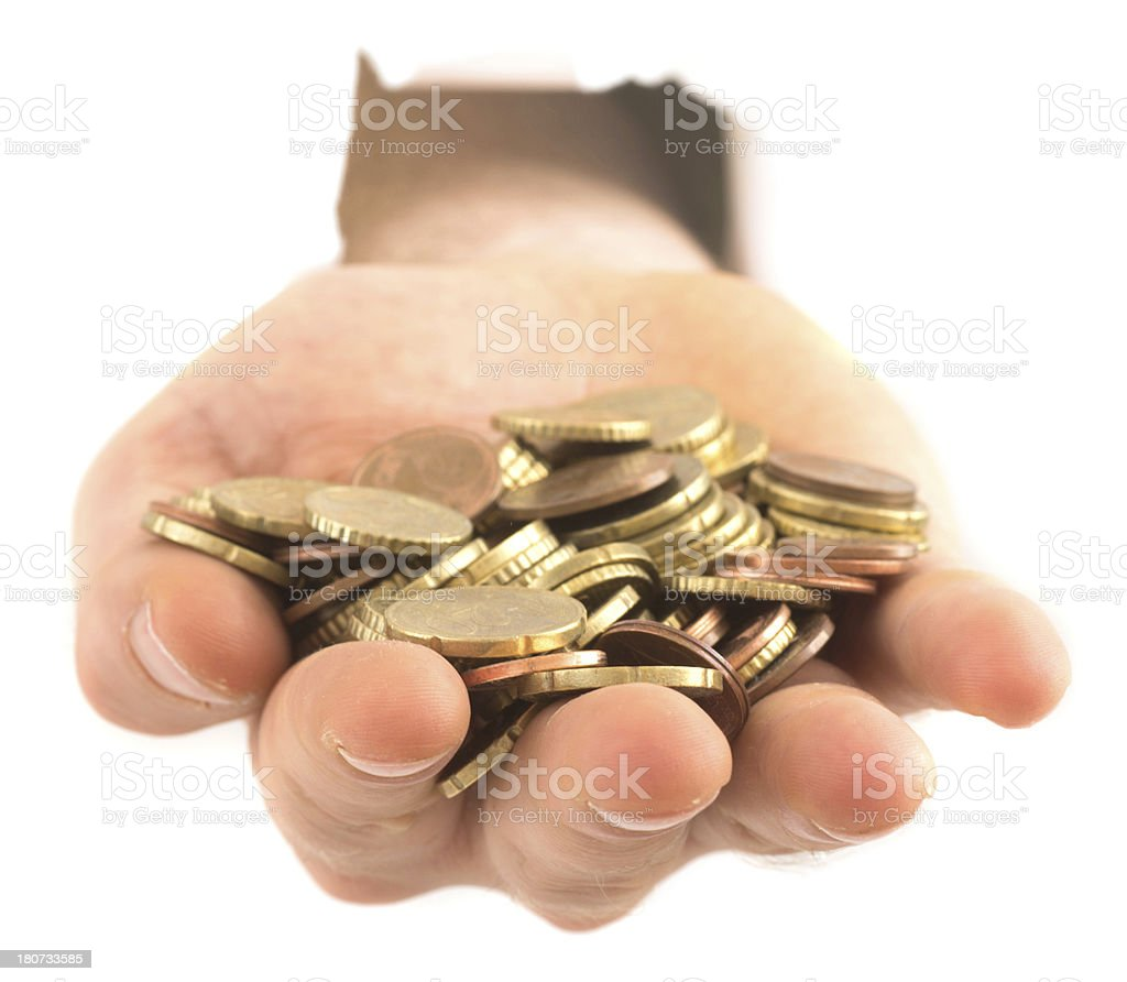 hand with euro coins stock photo