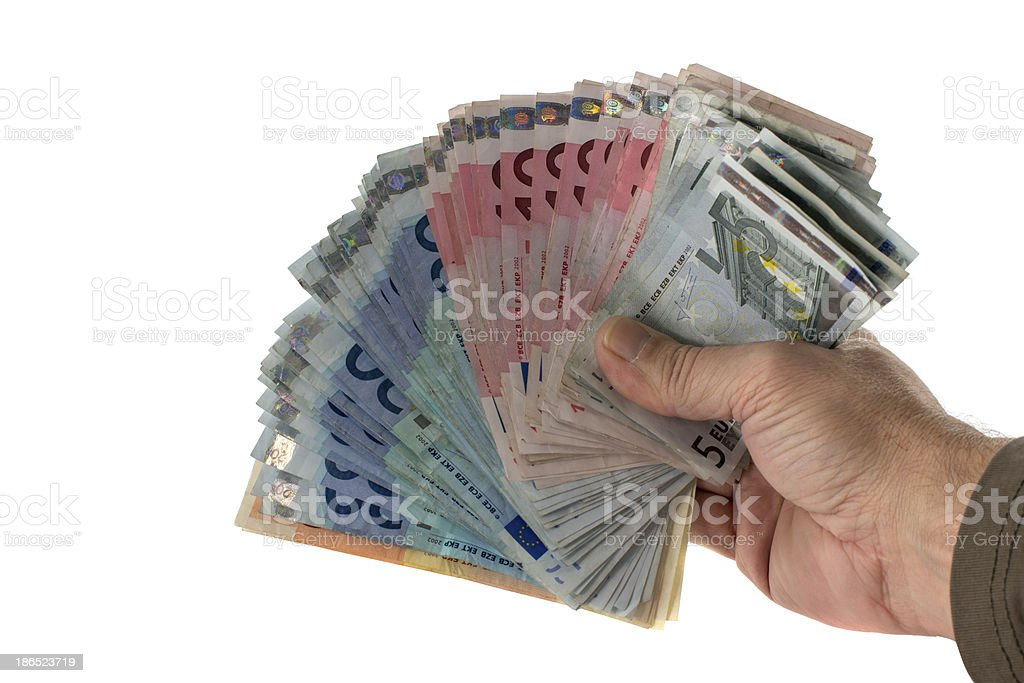 hand with euro money paper royalty-free stock photo