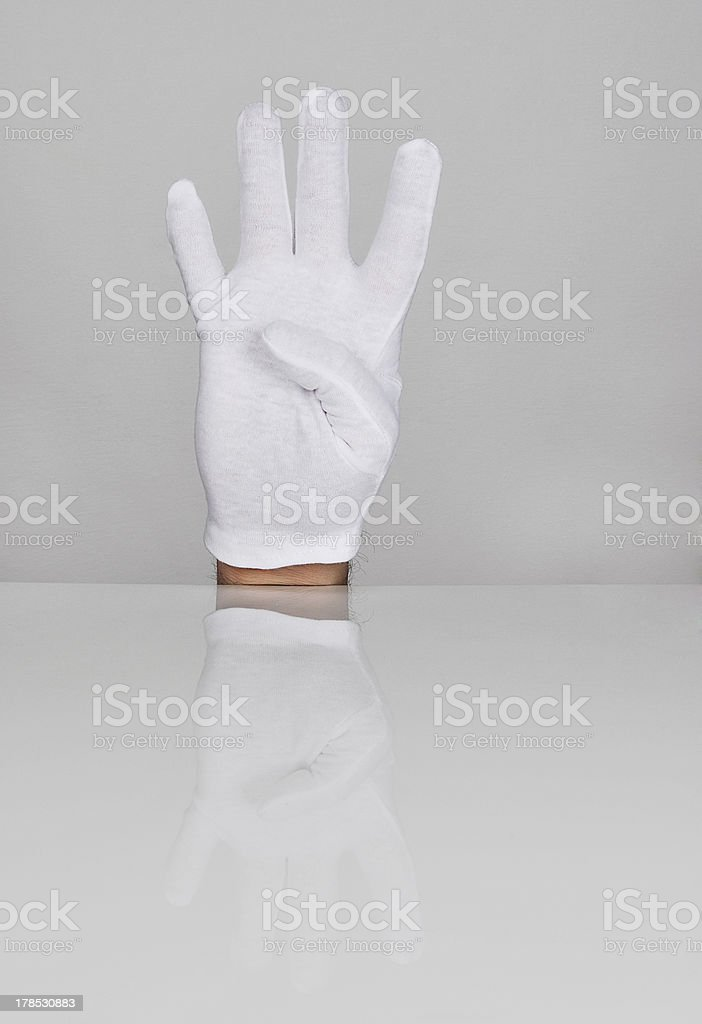 Hand with four fingers pointing upwards. royalty-free stock photo