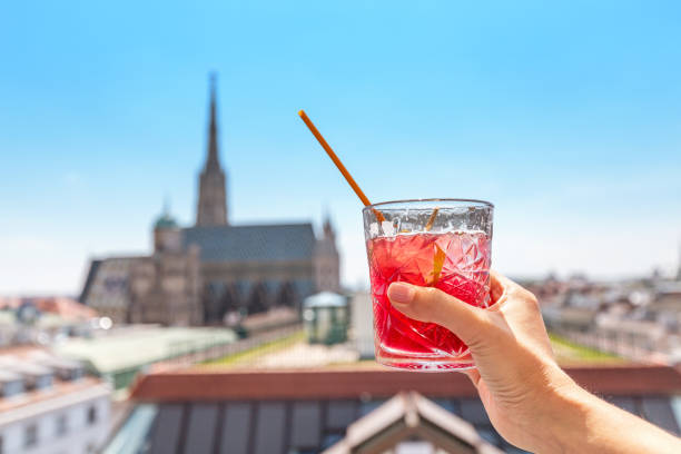 Hand with glass of cocktail with Vienna cityscape view at the background stock photo