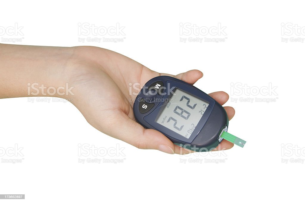 Hand with glucometer royalty-free stock photo