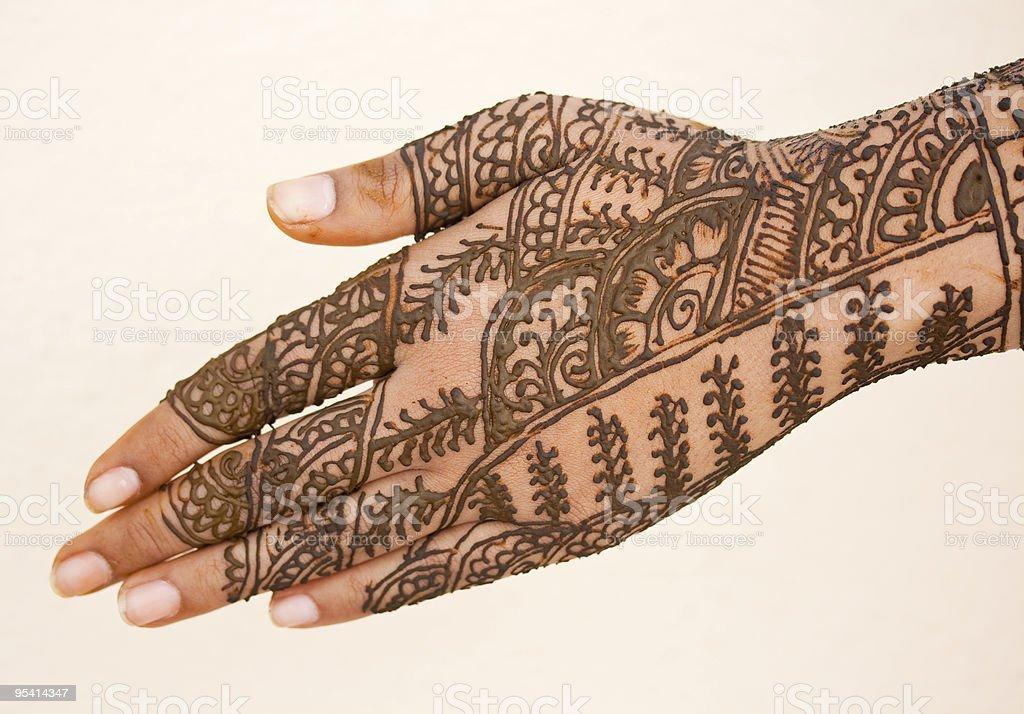 Hand mit Heena Lizenzfreies stock-foto