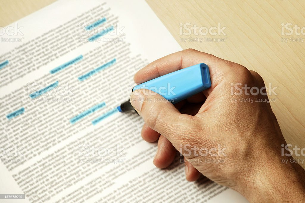 Hand with Highlighting pen stock photo