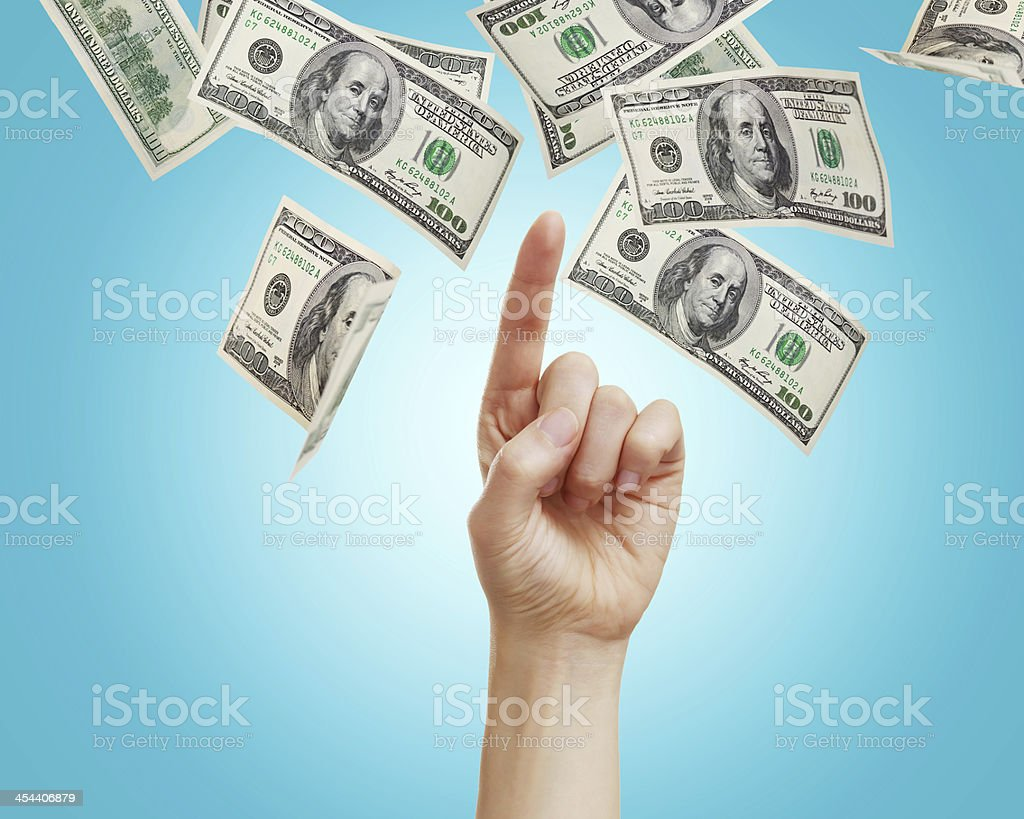 Hand with hundred dollar bills royalty-free stock photo