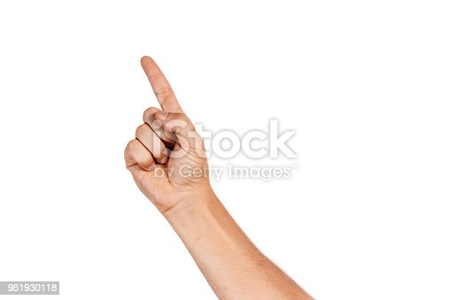 istock Hand with index finger, isolated on a white background 951930118
