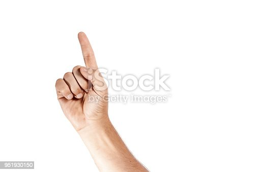 istock Hand with index finger, isolated on a white background 951930150