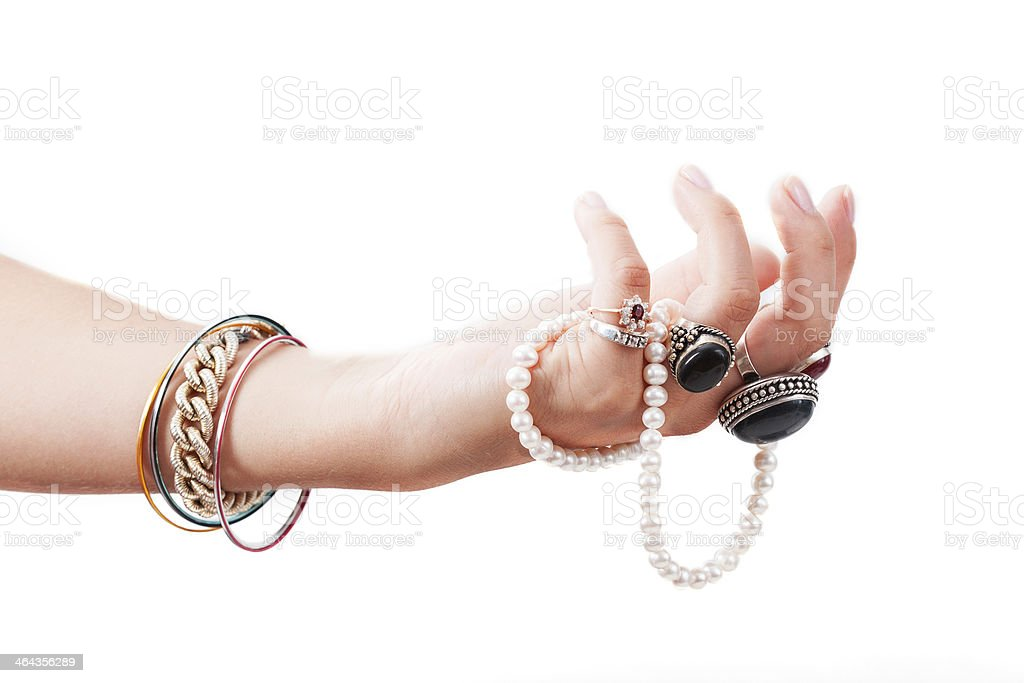 Hand with jewelery stock photo