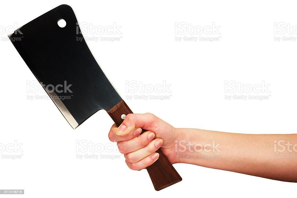 Hand with kitchen hatchet stock photo
