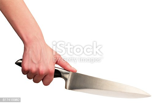 Hand holding kitchen knife isolated at white background