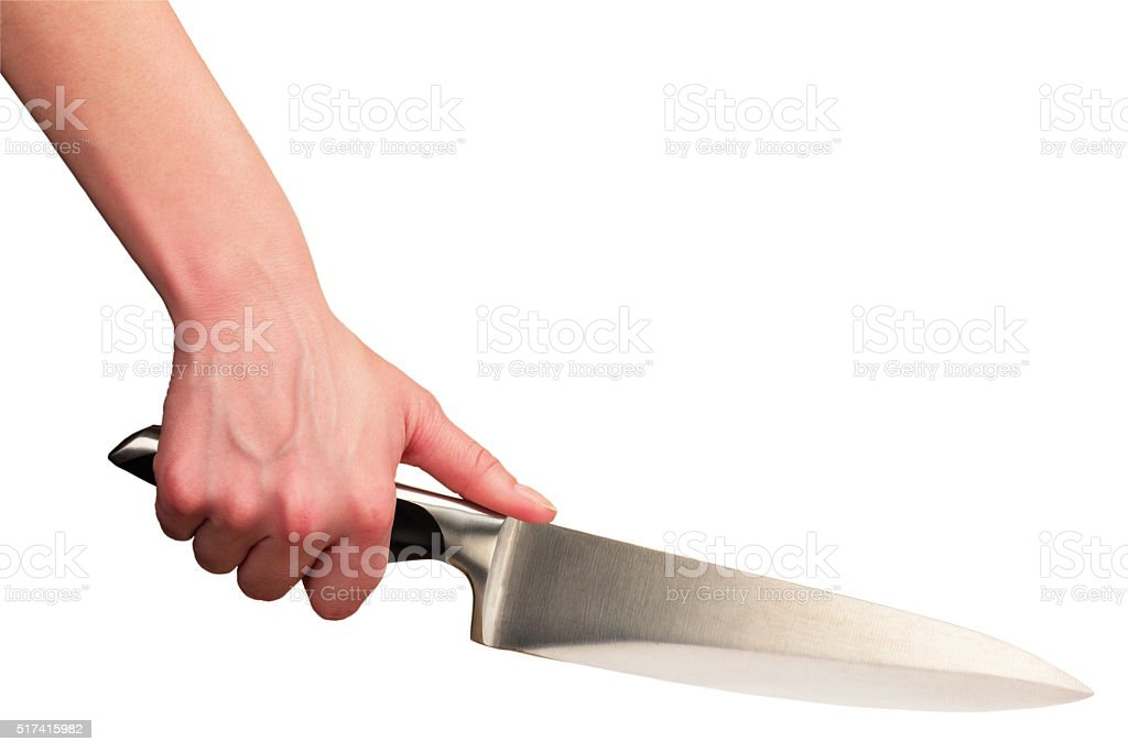 Hand with knife stock photo