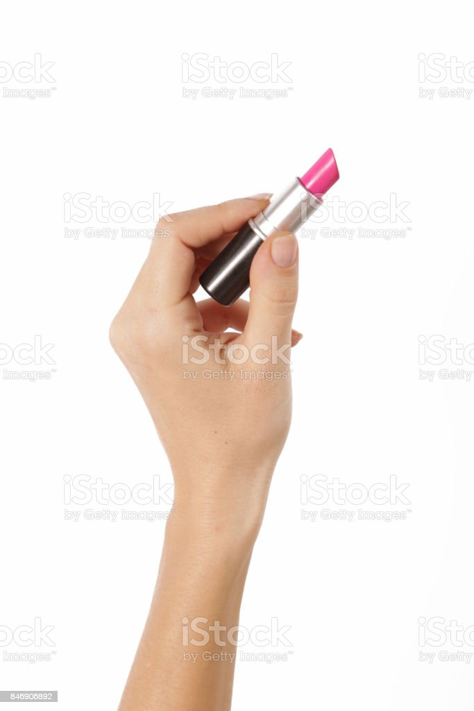 Hand with lipstick isolated on white stock photo
