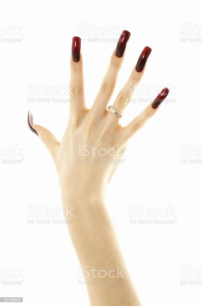 hand with long acrylic nails stock photo