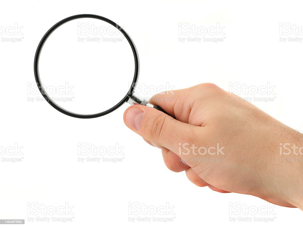 hand with magnifying glass royalty-free stock photo