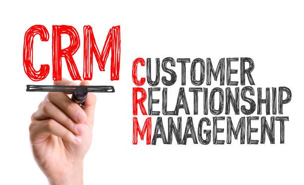Main avec l'écriture de marqueur: CRM - Photo