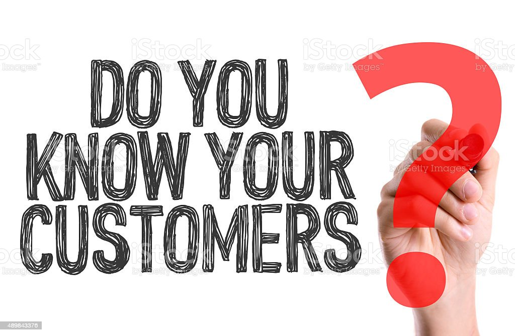 Hand with marker writing: Do You Know Your Customers? stock photo