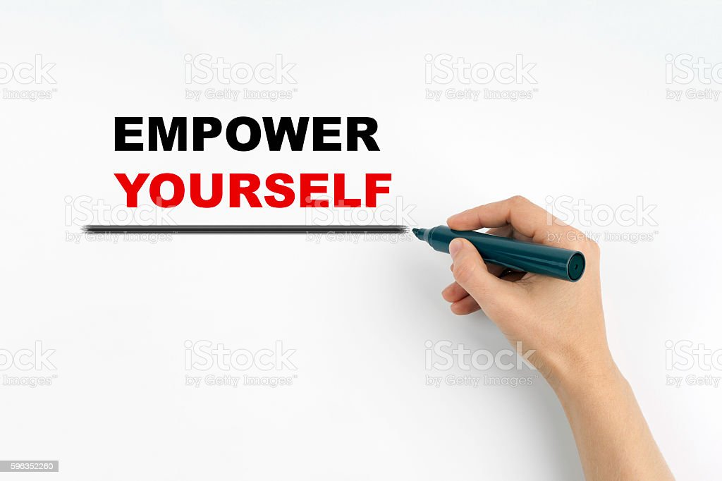 Hand with marker writing - EMPOWER YOURSELF Lizenzfreies stock-foto