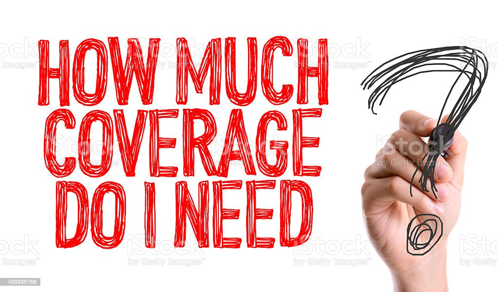 Hand with marker writing: How Much Coverage Do I Need? stock photo